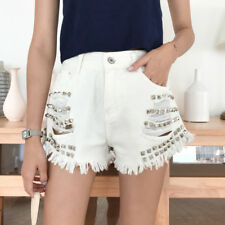 New Arrival Rivet Solid Chic Short - White