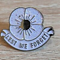 2020 Lest We Forget  Peace Military remembrance day White Poppy Pin Badge Brooch