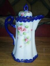 Hand Painted NIPPON Japanese Coffee CHOCOLATE POT Cobalt Blue Pink Floral MARKED