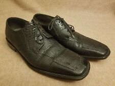 David Eden Lowell Men Leather Black Crocodile Lizard Skin Oxford Shoes Size 10
