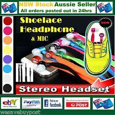 Shoelace Earphone Earbud Headphone Mic Vol Apple Samsung HTC Nokia iPad iPhone