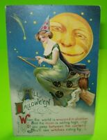 Vintage Halloween Postcard John Winsch Original 1911 Witch Owl Large Moon Man