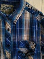 Chalc Men's Western Button Front Long Sleeve Shirt Blue White Plaid Sz XXL