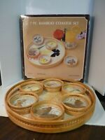 Vintage Butterfly Coaster Set 6 Bamboo Coasters and Round Tray