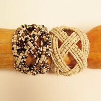 Set of 2 Wide Handmade Beaded Braided Jane Cuff Bracelet FREE SHIPPING