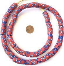 Made in Ghana Handmade Blue Red Recycled glass African trade beads-Ghana