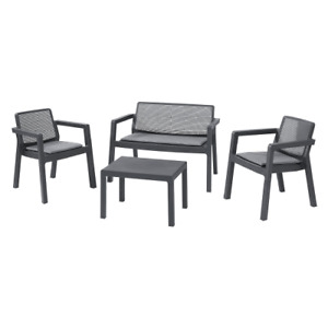 Emily lounge garden set a table, sofa and two chairs with polypropylene cushions