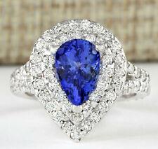 2.67 Carat Natural Tanzanite 14K White Gold Diamond Ring