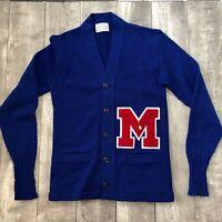 Vintage Mississippi Ole Miss Rebels 1960s Letterman Wool Cardigan Award Sweater