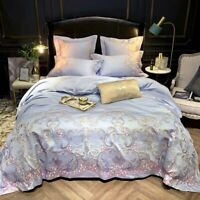 Egyptian Cotton Sateen Duvet Cover Embroidery  Bedding Set Soft Bed Sheet Set