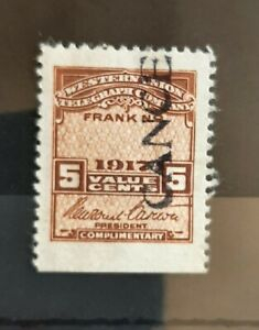 1917 Western Union Telegraph Co US Revenue 5c Stamp #16T51 MH with Gum