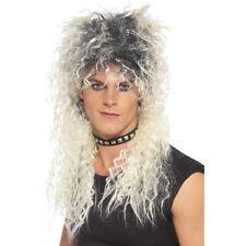 MEN's 80's Bionda Pop Star Parrucca BON JOVI Guns Roses Rocker Costume MUGGINE