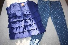 LITTLE JOULES POLKADOT JEANS & TIERED BLUE FLOUNCE TOP SET SIZE 7