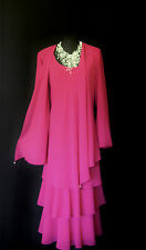 CATTIVA Pink Size 26 Ladies Designer Wedding Layered Dress & Jacket Outfit US 24