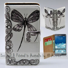 Wallet Phone Case Flip Cover for Samsung Galaxy Note Edge - Dragonfly Print