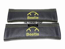 "2x Seat Belt Covers Pads Leather ""Beetle"" Yellow Embroidery for Volkswagen"