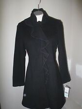 DKNY Ruffle Front A-Line Wool Cashmere Coat 8P Black 100% Authentic NWT