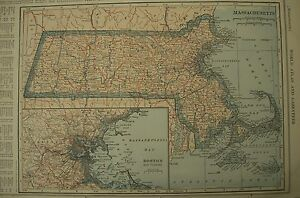 MASSACHUSETTS & MARYLAND 1928 State Antigue Vintage Color Map Frameable Gift
