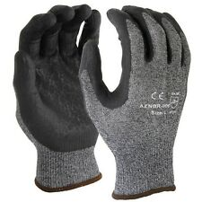 12 PAIRS 15 Gauge Dark Gray Nylon Lycra Liner Black Palm Safety Glove LARGE