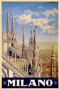 Milan Italy - Vintage Style Classic 1920s Italian Travel Poster 16x24