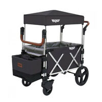 Keenz 7S Push Pull Baby Toddler Kids Wheeled Stroller Wagon with Canopy, Black