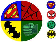 "Marvel Superhero Hulk Spiderman Superman Batman 8"" Icing Sheet Plus 4 toppers"