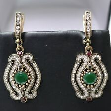 Vintage Antique Green Emerald Earrings Wedding Anniversary Birthday Jewelry Gift