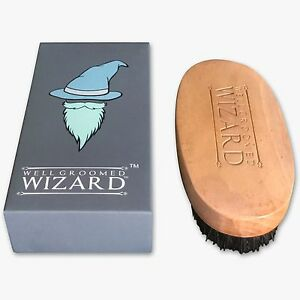 Beard Brush, Boar Bristle Beard and Hair Brush by Well Groomed Wizard
