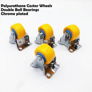 4pcs 2'' yellow chrome plated Fixed PU Castor Wheels Non Marking 80KG Capacity