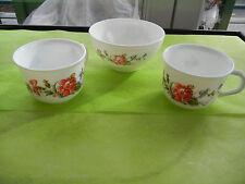 Arcopal    Fleurs  2 Tasses  et 1 Bol