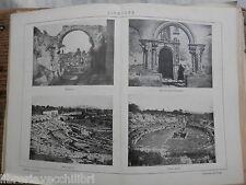 antica stampa da incorniciare SIRACUSA ANFITEATRO CATACOMBE TEATRO GRECO DI