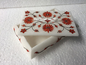 """6""""x4""""x2"""" Marble Collectable Jewelry Gift Box Hakik Floral Inlay Art Decors H3523"""
