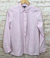 Gap button down shirt blouse womens XL pink stripe new ruffle hidden placket H7
