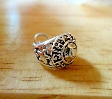 Sterling Silver 16x13x9mm Class Ring says High School on Ring Charm Star on side