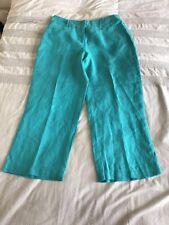Per Una Linen Capri Trousers Aqua Marine Size 10 Bnwt