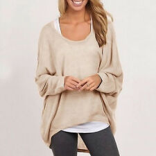 Oversized Womens Casual Slouchy Knit Pullover Blouse Baggy Shirts Tops UK 8-24