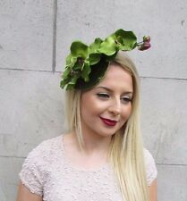 Olive Green Velvet Orchid Flower Fascinator Hat Races Hair Clip Vintage 2608