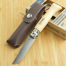 Opinel No8 Beechwood Handle 12C27 Folding Knife With Leather Sheath 001089