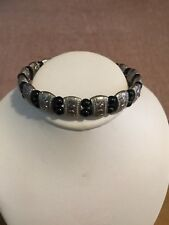 Beads Clasp Bracelet Unsigned Vintage Silver Tone Textured Black