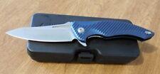 BROUS BLADES New Blue Aluminum Handle T4 Plain Edge D2 Blade Knife/Knives