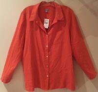 NWT J. Jill Petite 100% Silk Button Down Blouse Begonia/Orange LP Tab Sleeves