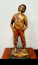 Beautiful Antique / Vintage Statue Of A Whistling Boy With A Great Patina !!
