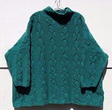 Eskandar Blaugrün Kette und Loop Kabel Cashmere Trichter Ausschnitt Pullover O/S $2895