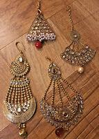 Indian Pakistani Ethnic Bollywood Kundan Crystal Gold Plated Hair Piece Jhumar