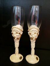 2 Santini Champagne Toasting Wedding Bride Groom Flutes Reception Glasses Roses
