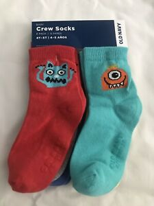 Old Navy Toddler Boy 6 Pack Crew Socks Monsters 4T-5T NWT