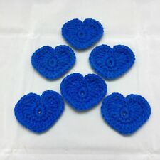Blue Crocheted Heart Appliques Set of 6  Quilting Scrapbooking Sewing