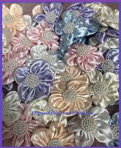 """CHARMED 2 1/4"""" Satin W/ Pearls Flowers Arts Crafts DIY Applique 50 pieces; 1250L"""