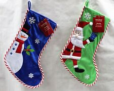 2-SET GREEN SANTA & BLUE SNOWMAN CHRISTMAS STOCKINGS Holiday Decoration Cute NEW
