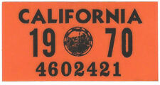 1970 CALIFORNIA Vinyl Sticker License Plate Reg.TAB - CAR-TRUCK-MOTORCYCLE - NEW